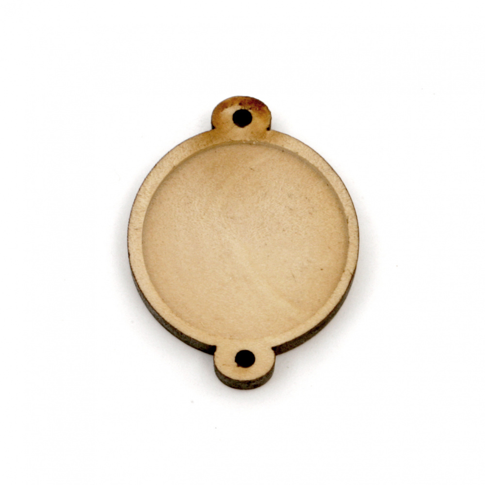 Ξύλινη βάση Σύνδεσμος 29x23x4.5 mm εσοχή 20 mm τρύπα 1,5 mm φυσικό χρώμα -5 τεμάχια