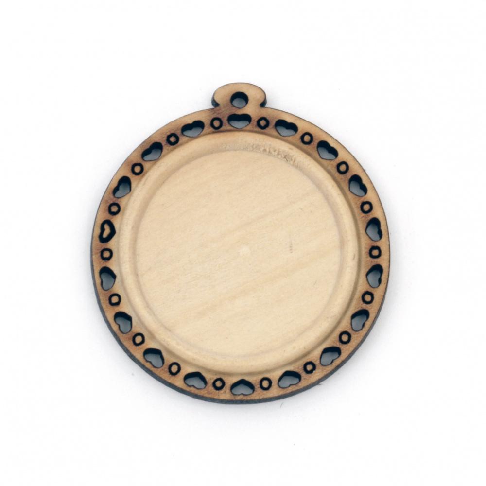 Ξύλινη βάση για κρεμαστό κόσμημα 40x37x5 mm εσοχή 25 mm τρύπα 1,5 mm φυσικό χρώμα -4 τεμάχια