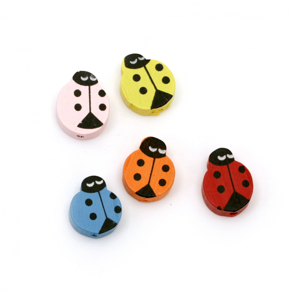Wooden Ladybug for DIY Jewelry and Crafts 18x14x5.5 mm hole 2 mm MIX - 10 pieces