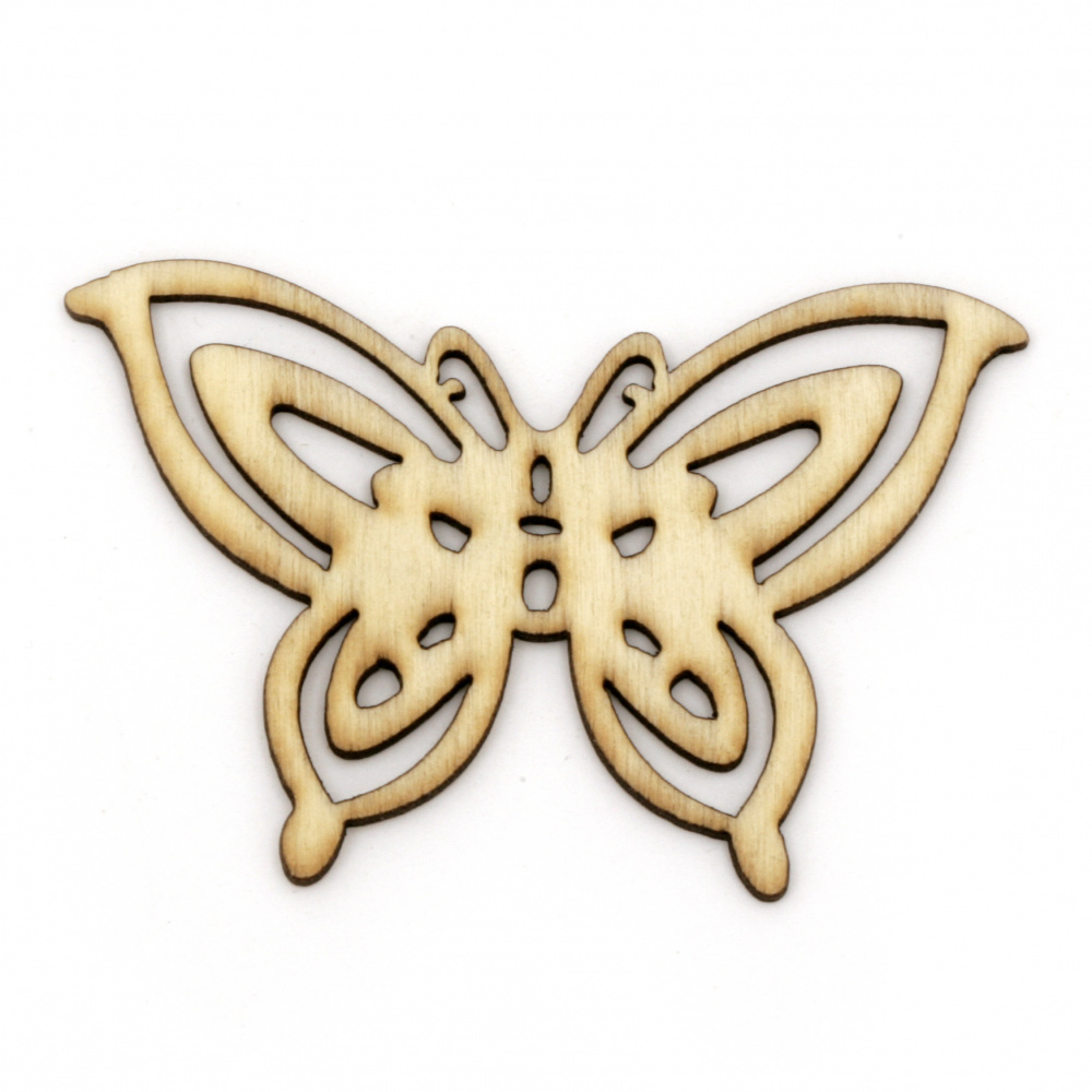 Wooden figure Butterfly 62x42x2 mm color wood - 5 pieces