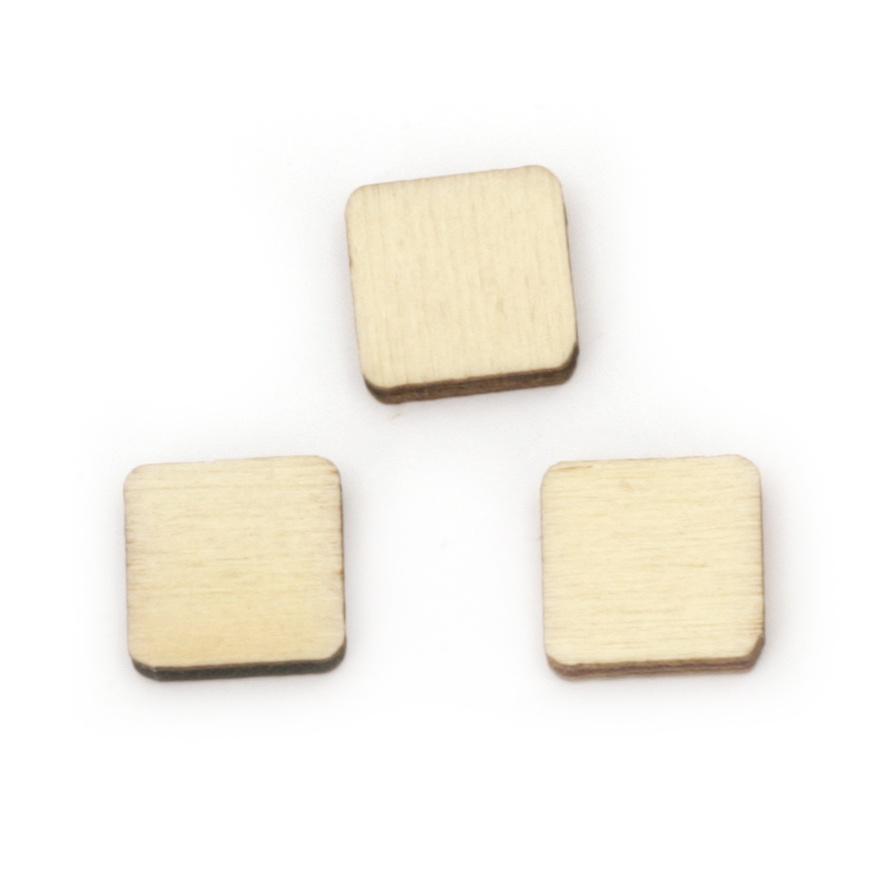 Τετράγωνο, ξύλινο τύπου Cabochon 10x10x2,5 mm -10 τεμάχια