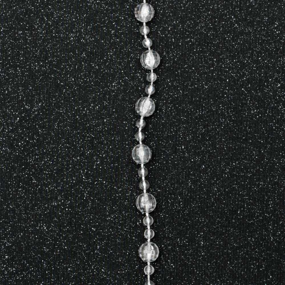 festoon with a ball of plastic 4 ~ 8 mm transparent cracked faceted -1 meter
