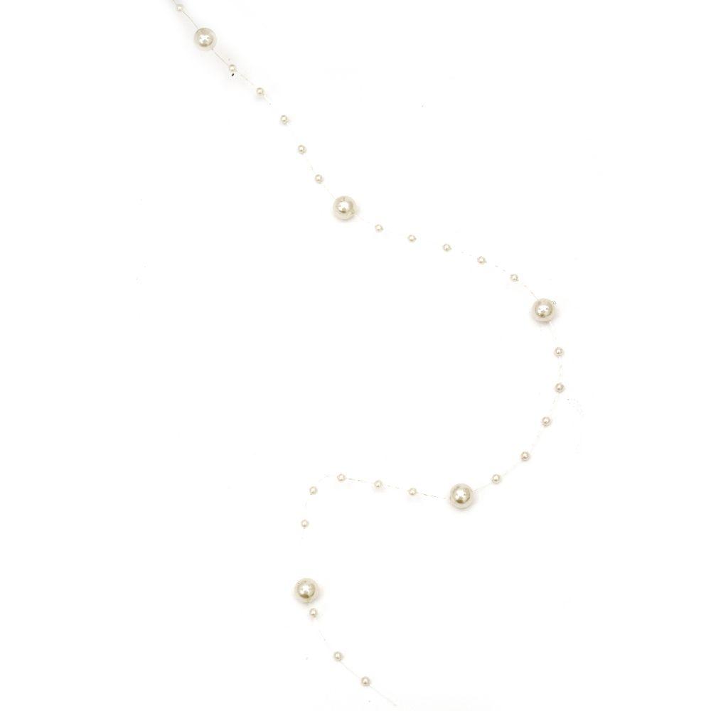 Ghirlandă cu plastic perlat 3 ~ 8mm fildeș - 1 metru