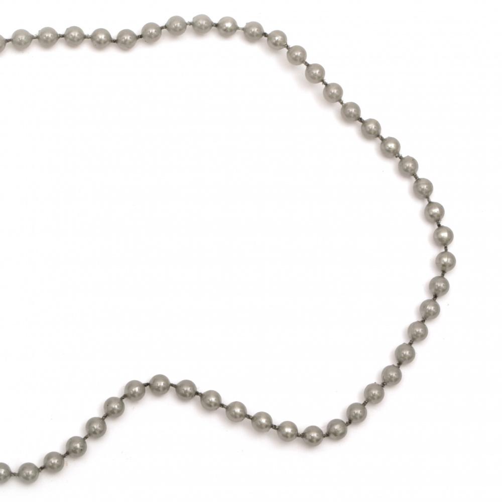 Festoon with pearl plastic  5 mm gray -1 meter