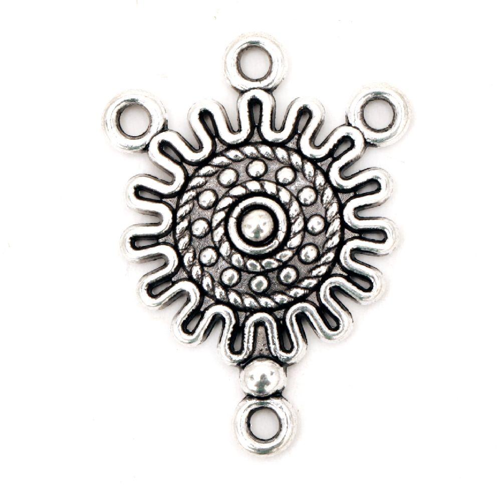 Свързващ елемент метал 27x18x3.5 мм дупка 1.5 мм цвят старо сребро -4 броя