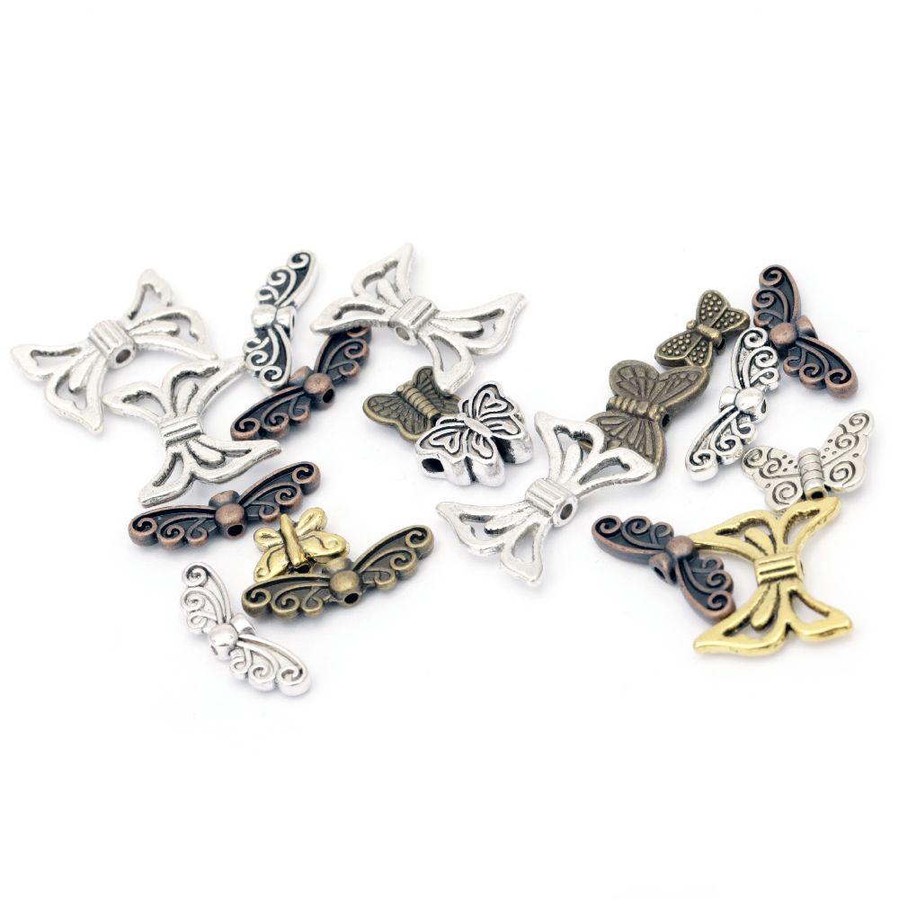 Висулка метална пеперуда АСОРТЕ 10~21x7~17x1~3 мм дупка 1 мм цвят АСОРТЕ -20 грама