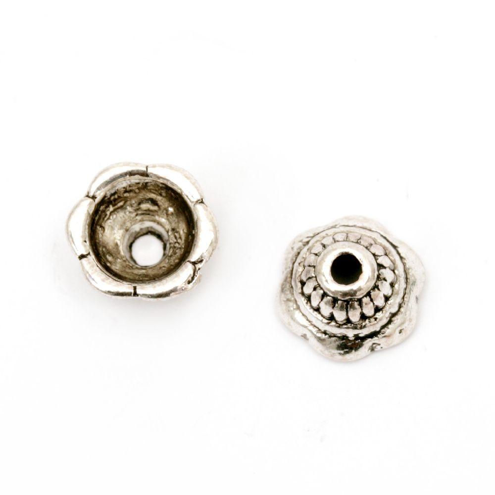 Palarie metalica din margele 8x5 mm gaura 2 mm culoare veche argint -20 piese