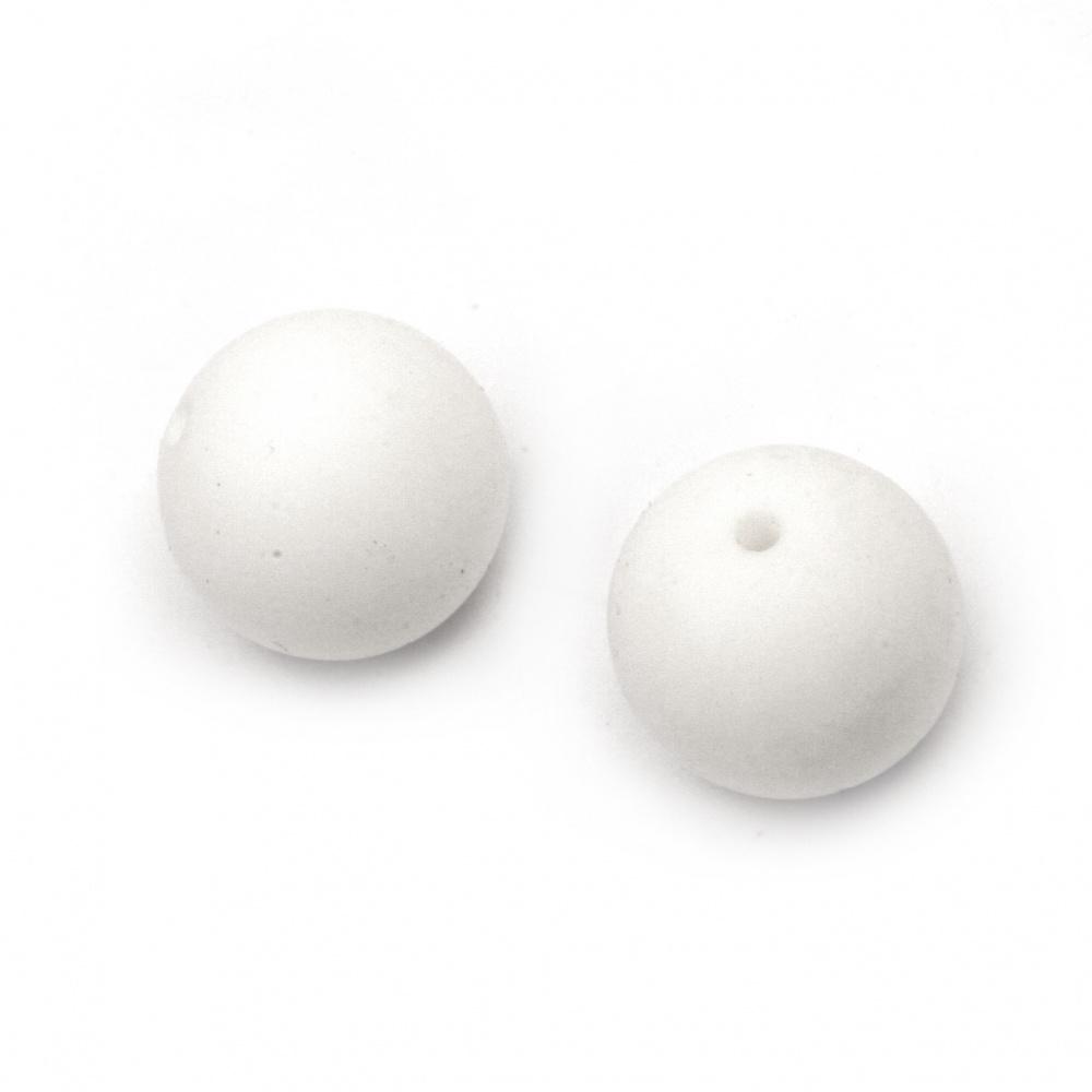 Мънисто силикон топче 15 мм дупка 2.5 мм цвят бял - 5 броя