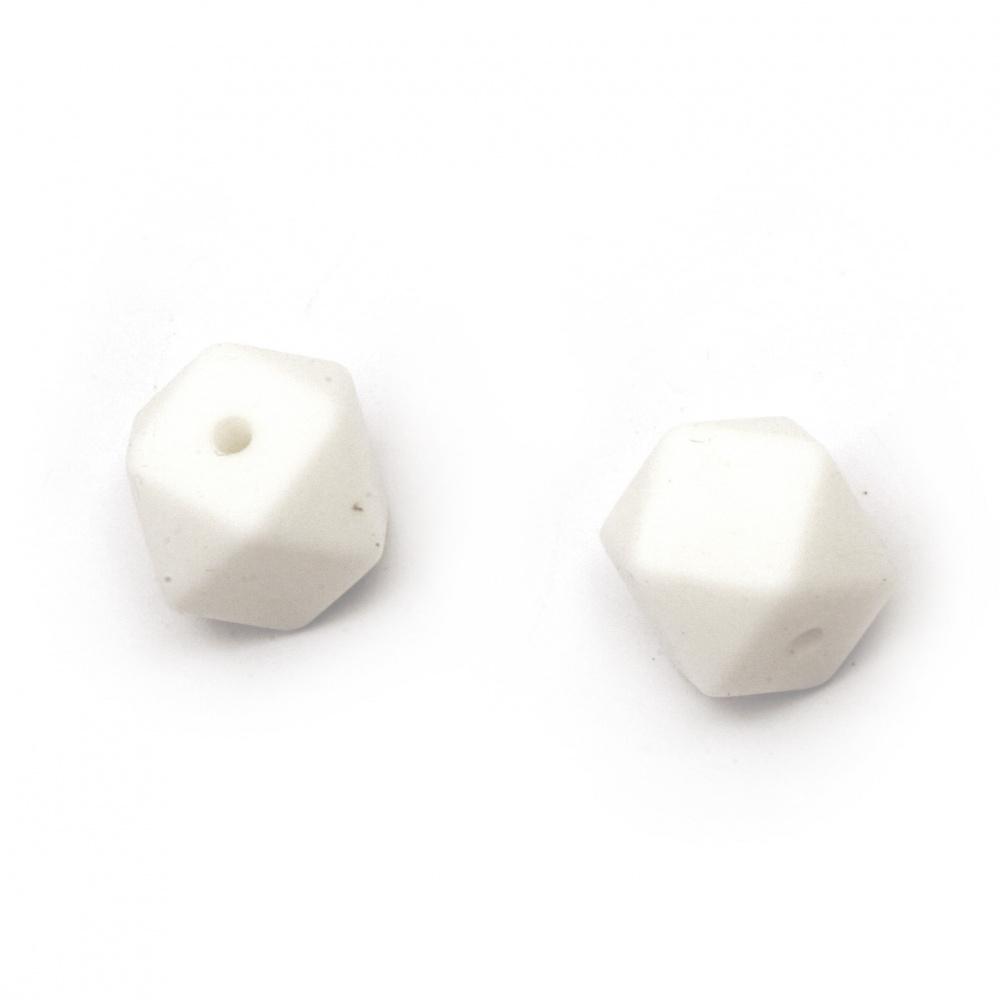 Мънисто силикон многоъгълник 14x14 мм дупка 2.5 мм цвят бял - 4 броя