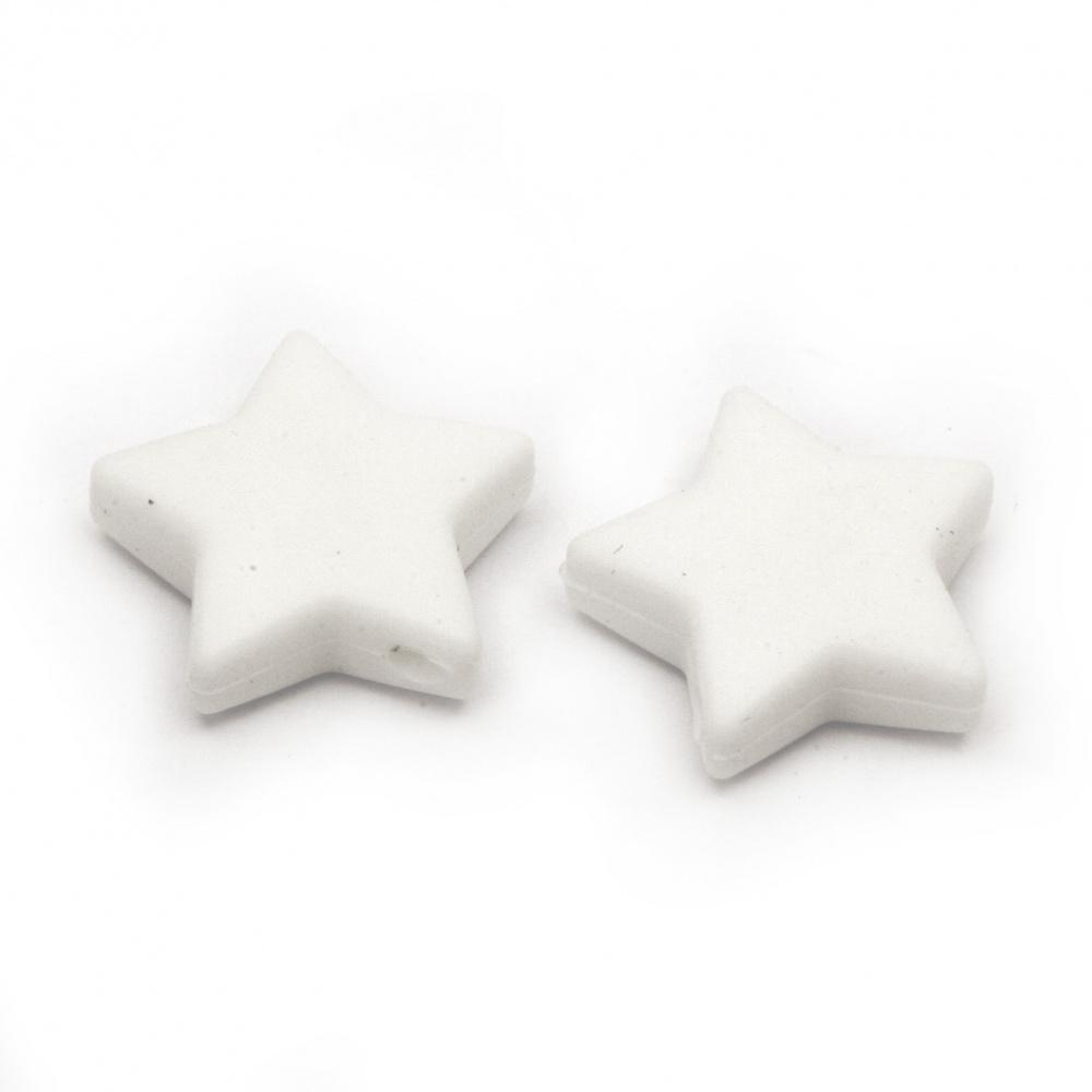 Мънисто силикон звезда 14x13x8 мм дупка 2.5 мм цвят бял - 2 броя