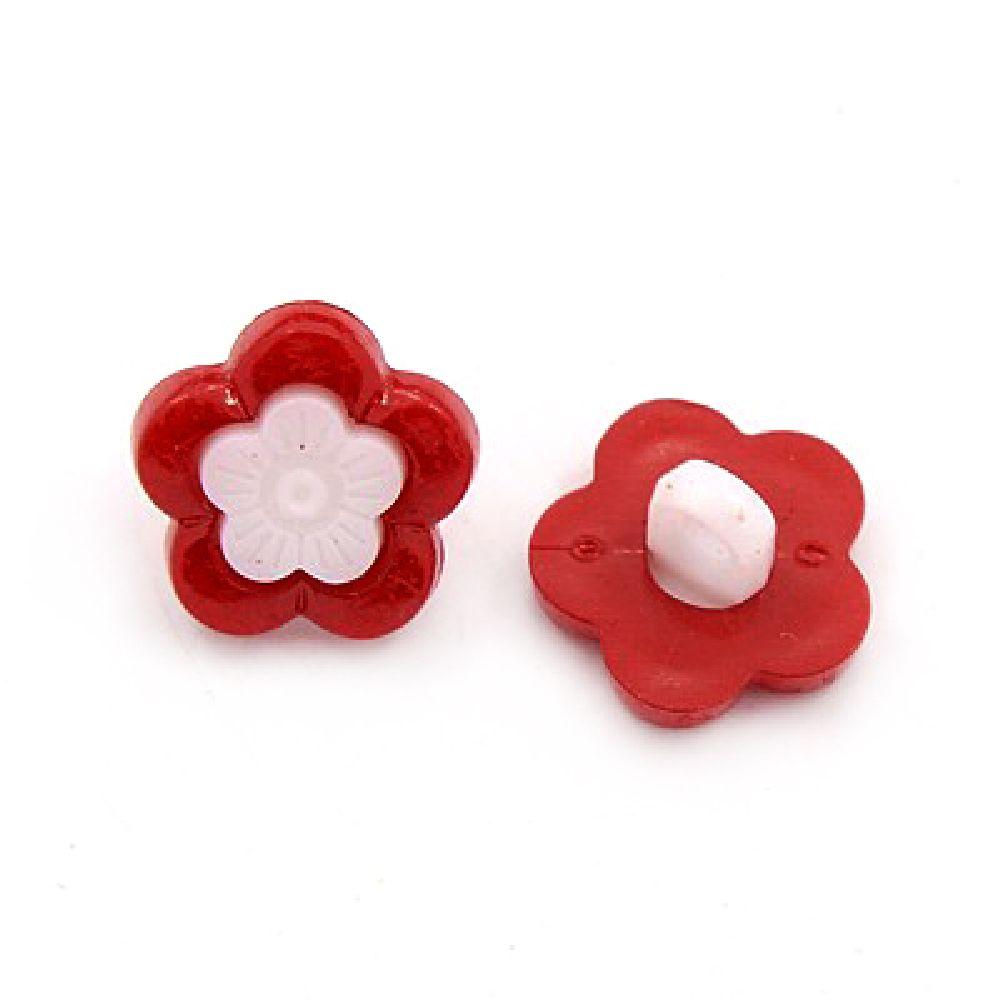 Κουμπί πλαστικό λουλούδι 14x3 mm τρύπα 4 mm λευκό και κόκκινο -20 τεμάχια