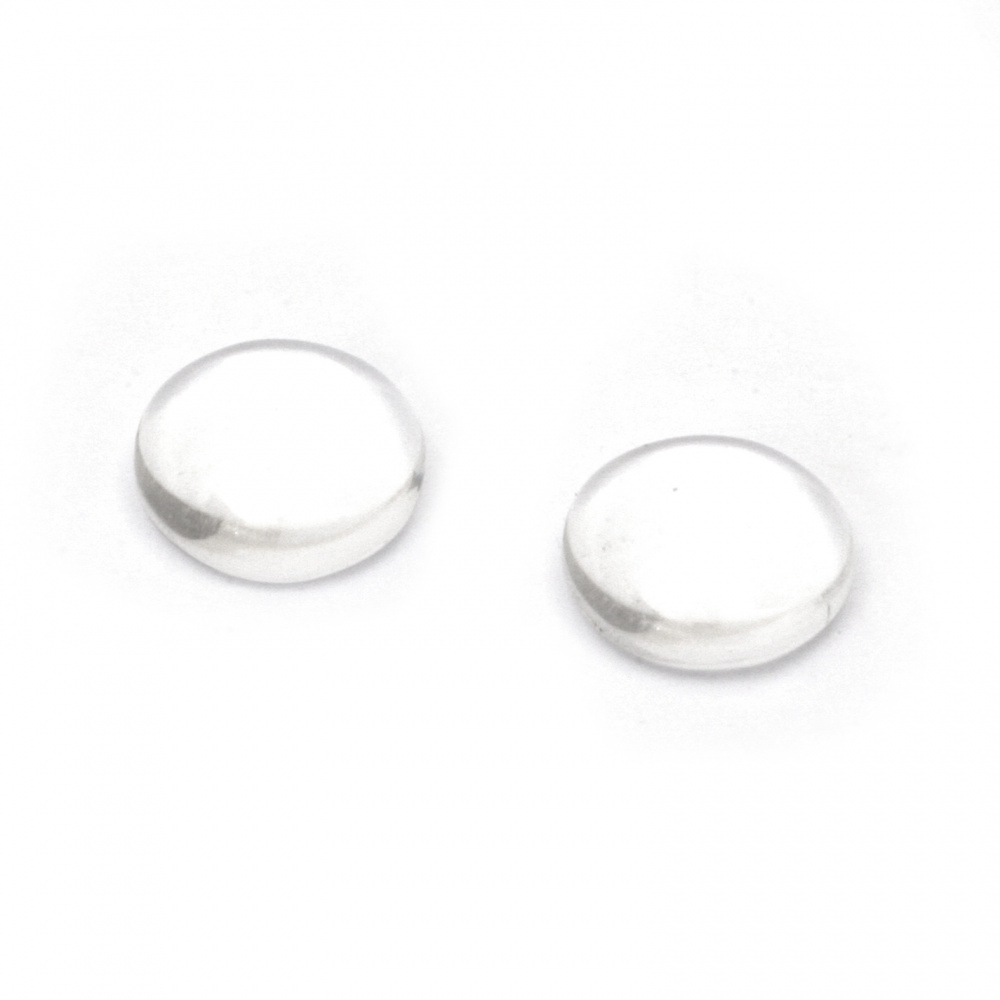 Cabochon Beads for glas, Half Round for Gluing, DIY, Clothes, Jewellery 8x3.5 mm transparent -20 pieces
