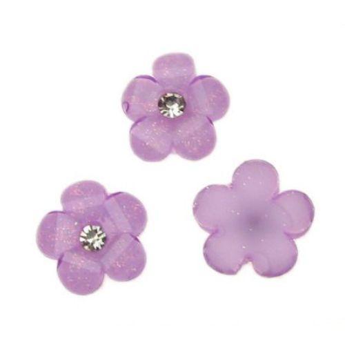 Margele de margele de cabochon 12 mm floare pietricică mov -10 bucăți