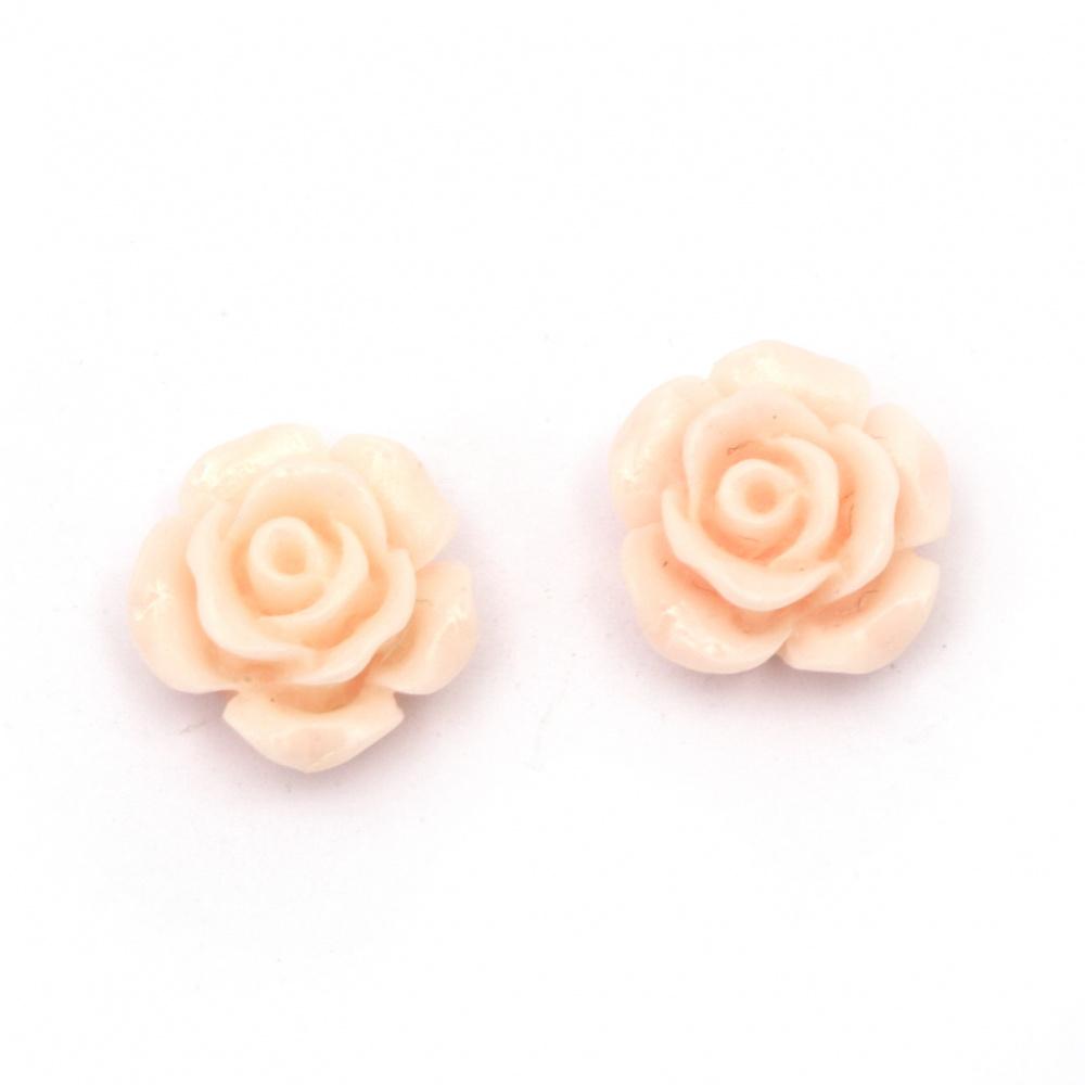Мънисто резин тип кабошон роза 13x7 мм цвят розов -10 броя