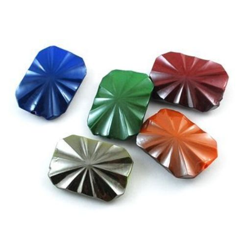 Acrylic bead  with black UV plating 26x18x7 mm hole 2 mm rectangle polyhedron - 21 grams ~ 12 pieces