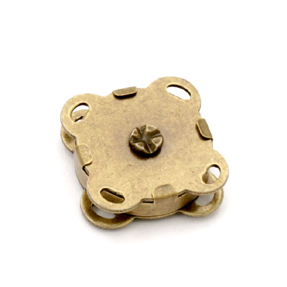 Μαγνητικό κούμπωμα 15x15x6,5 mm τρύπα 2x1 mm μπρονζέ -2 σετ
