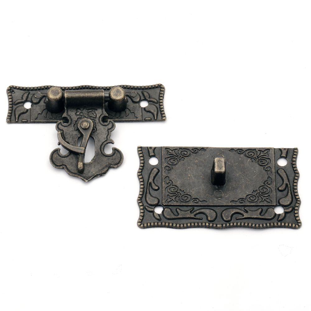 Închizător metalic 42x51x9 mm orificiu 2,5 mm culoare bronz antic