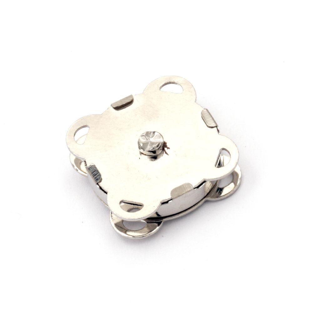 Μαγνητικό κούμπωμα 19x19x7 mm τρύπα 1,5x2 mm ασημί -1 σετ