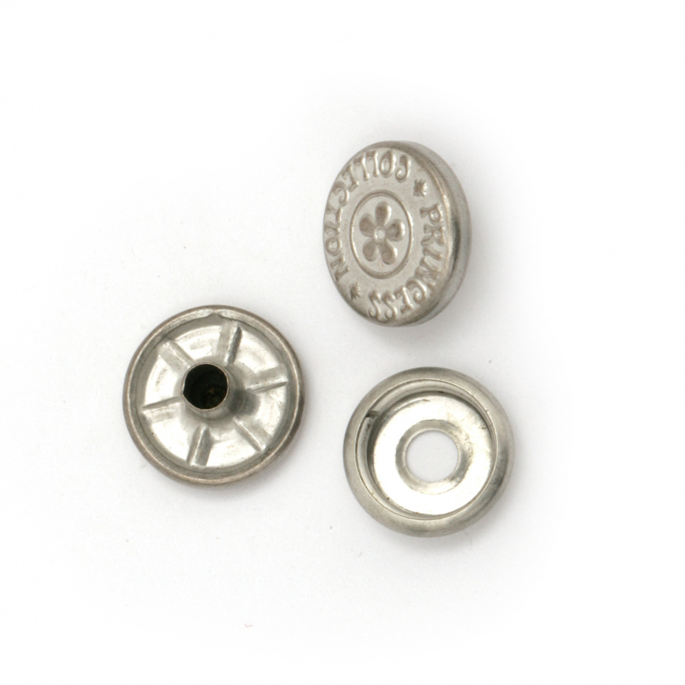 Nasture metalic rotund 14x4 ~ 7 mm gaură 4 mm culoare argintiu 4 bucăți -5 seturi