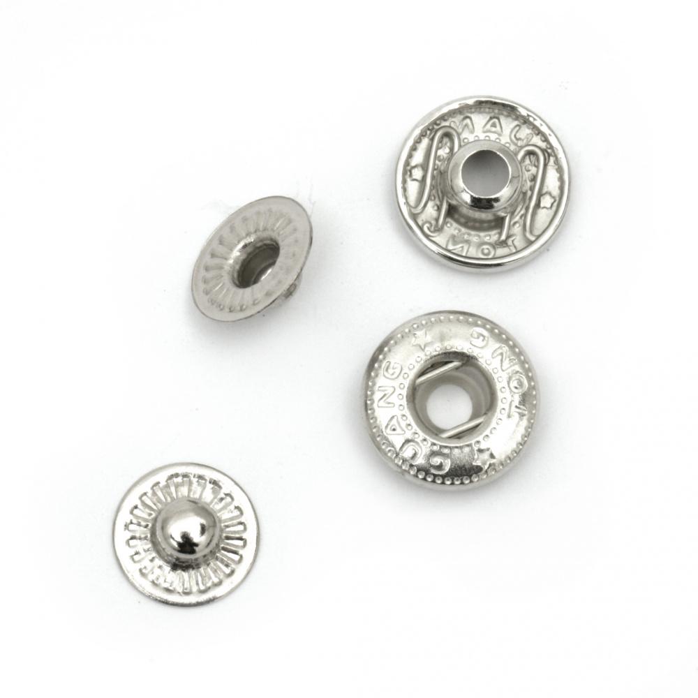 Nasture metalic Tick Tock Circle 12x4 ~ 6 mm gaură 4.5 mm culoare negru și argintiu 4 bucăți -5 seturi