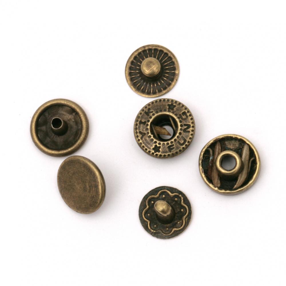 Κουμπιά τικ- τακ 10x5 ~ 6mm τρύπα 4mm μπρονζέ 4 τεμάχια -5 σετ