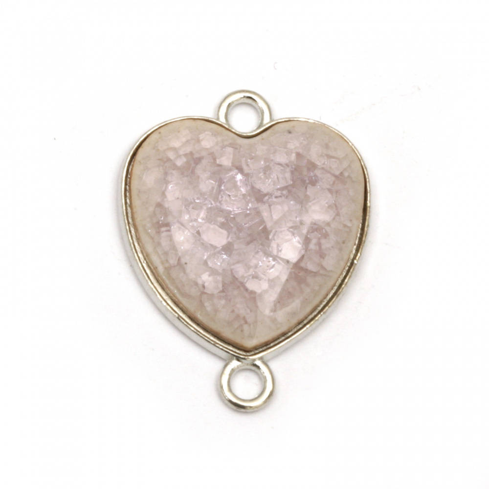 Connecting metal element pink heart with cracked effect 24x18x4 mm hole 2 mm color silver - 2 pieces