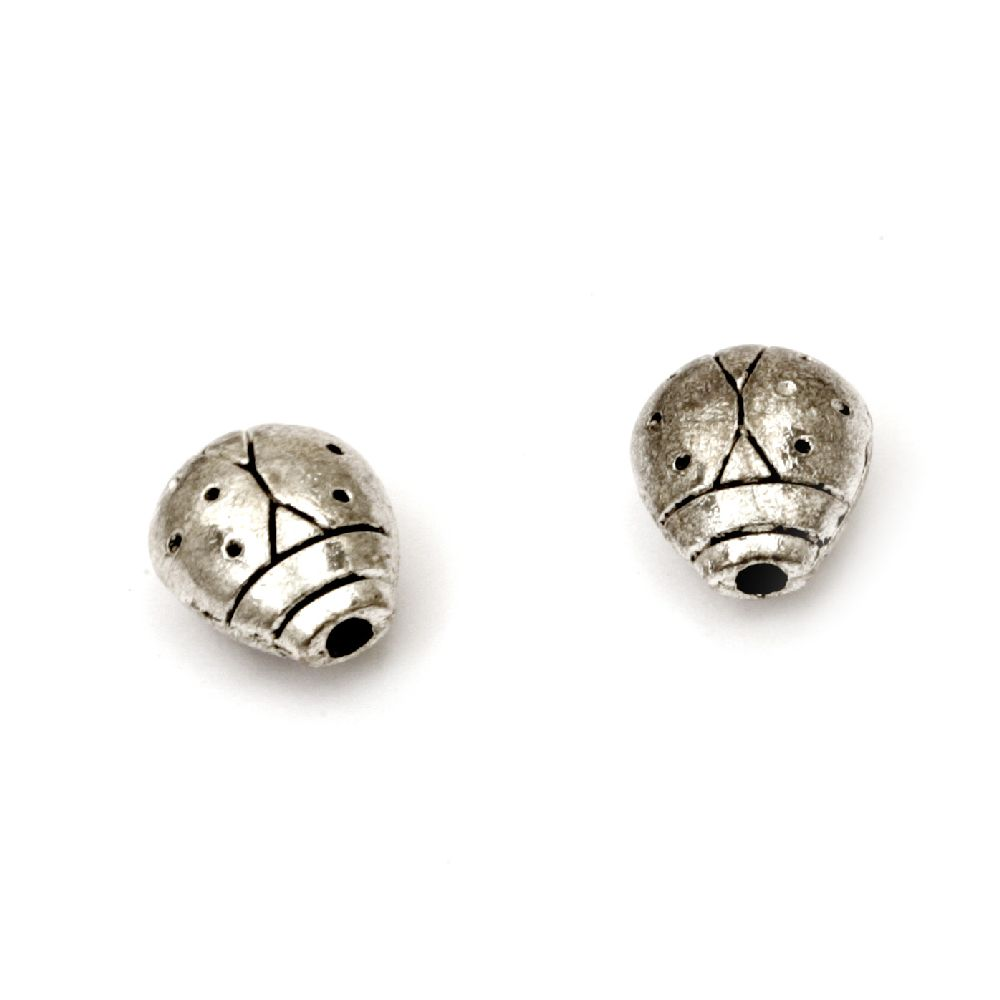 Metal bead ladybug 11x10x6 mm hole 1.5 mm color silver - 5 pieces