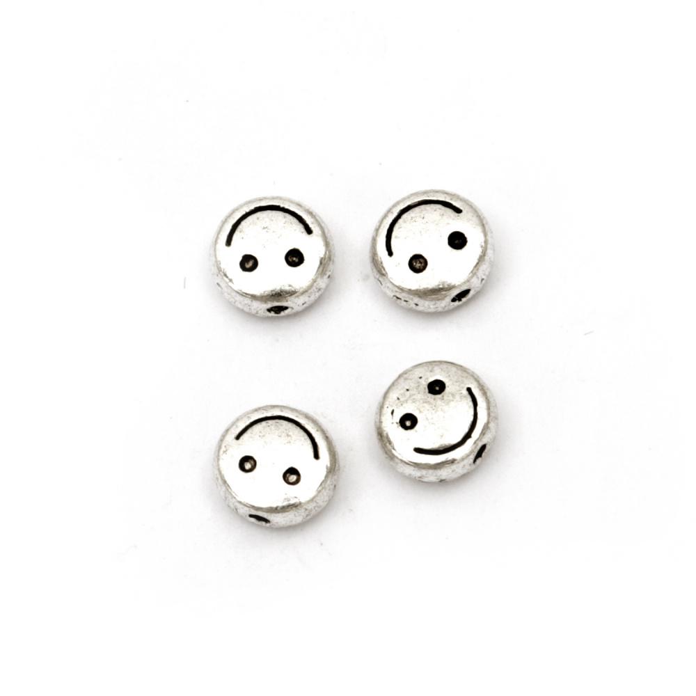 Мънисто метал усмивка 6x3 мм дупка 1 мм цвят сребро -20 броя