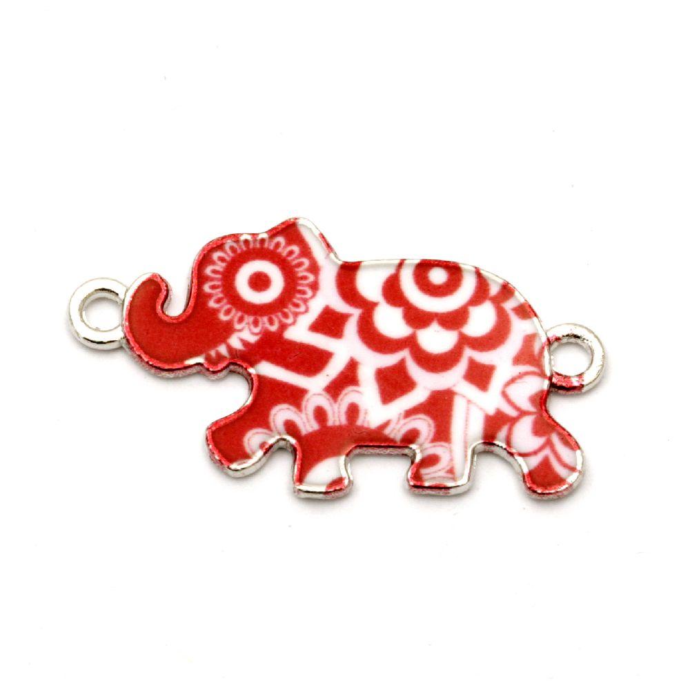 Element de conectare metal elefant alb și roșu 28x16 mm culoare argintiu -2 bucăți