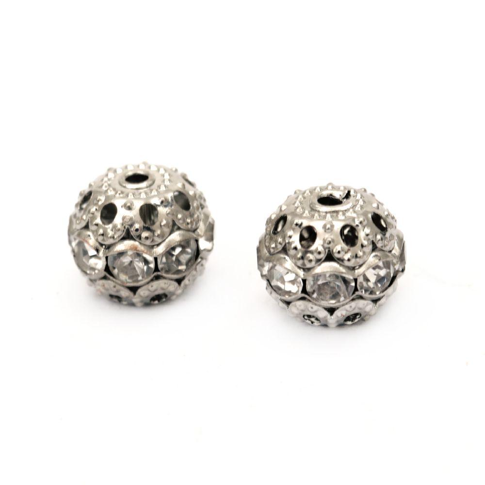 Топче метално с кристали 10 мм дупка 1 мм цвят сребро -5 броя