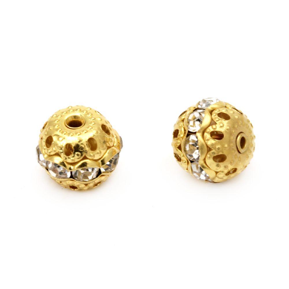 Топче метално с кристали 10 мм дупка 1 мм цвят злато -5 броя