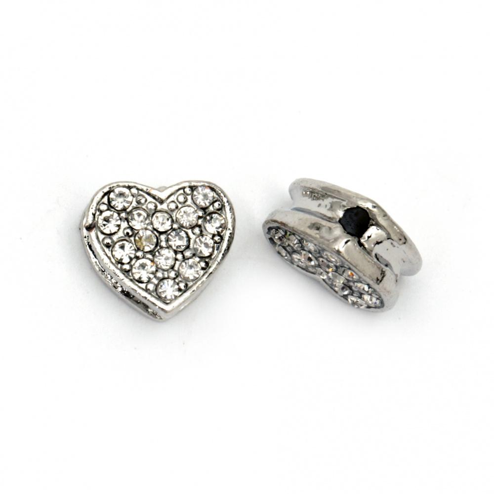 Мънисто метал с кристали сърце 11x12x5.5 мм дупка 1 мм цвят сребро