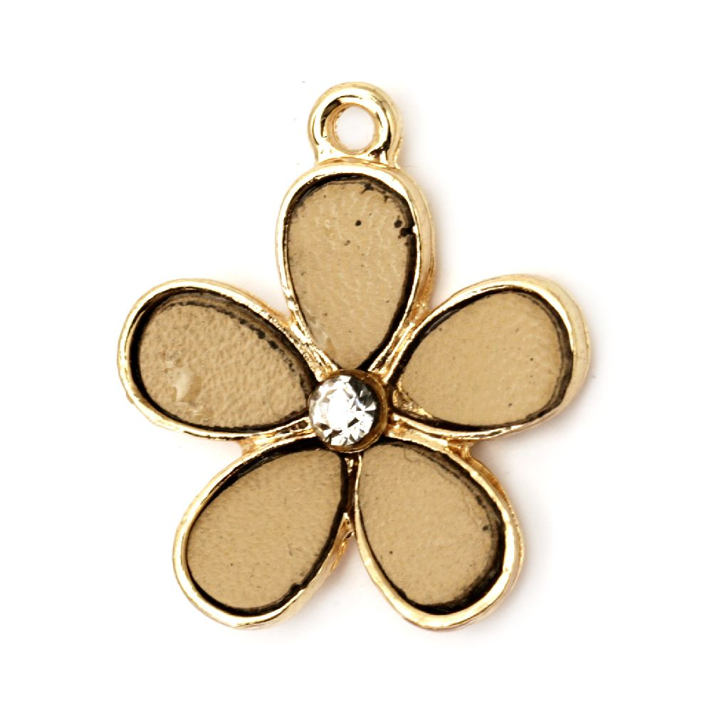 Metal pendant with crystals and faux leather cappuccino 24x28 mm hole 2 mm color gold