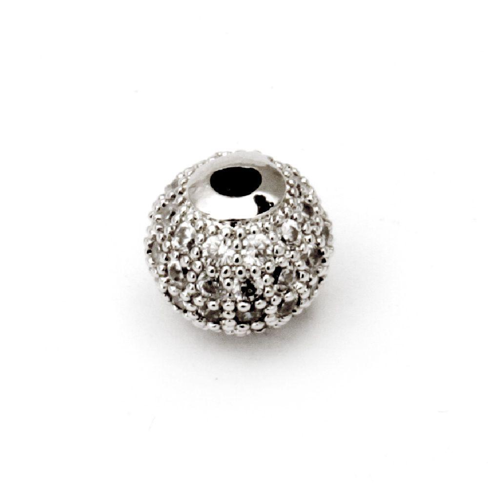 Топче метал с кристали 8 мм дупка 2 мм цвят сребро