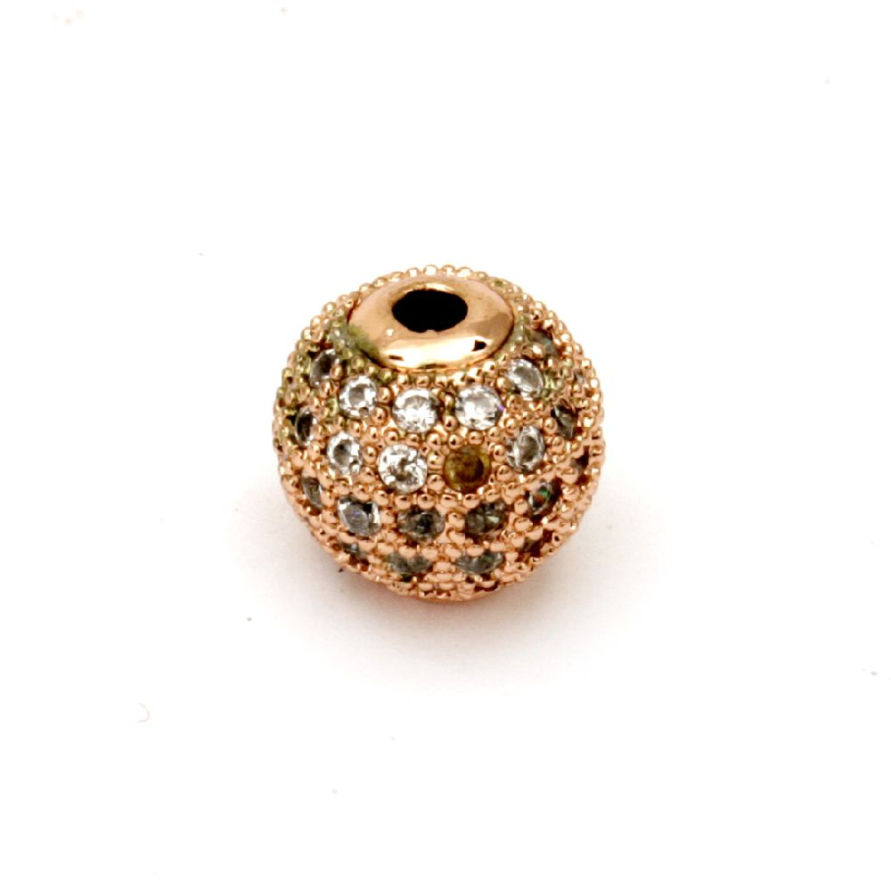 Топче метал с кристали 10 мм дупка 2 мм цвят мед