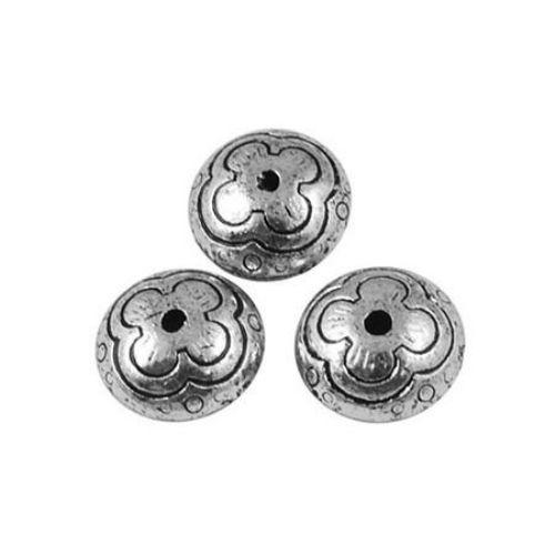 Șaibă metalică  margele 11x6 mm gaură 2 mm culoare argintiu -50 grame ~ 100 bucăți