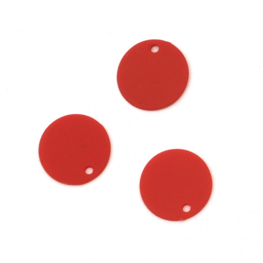 Висулка пастел паричка 15x1 мм дупка 1 мм цвят червен -10 броя
