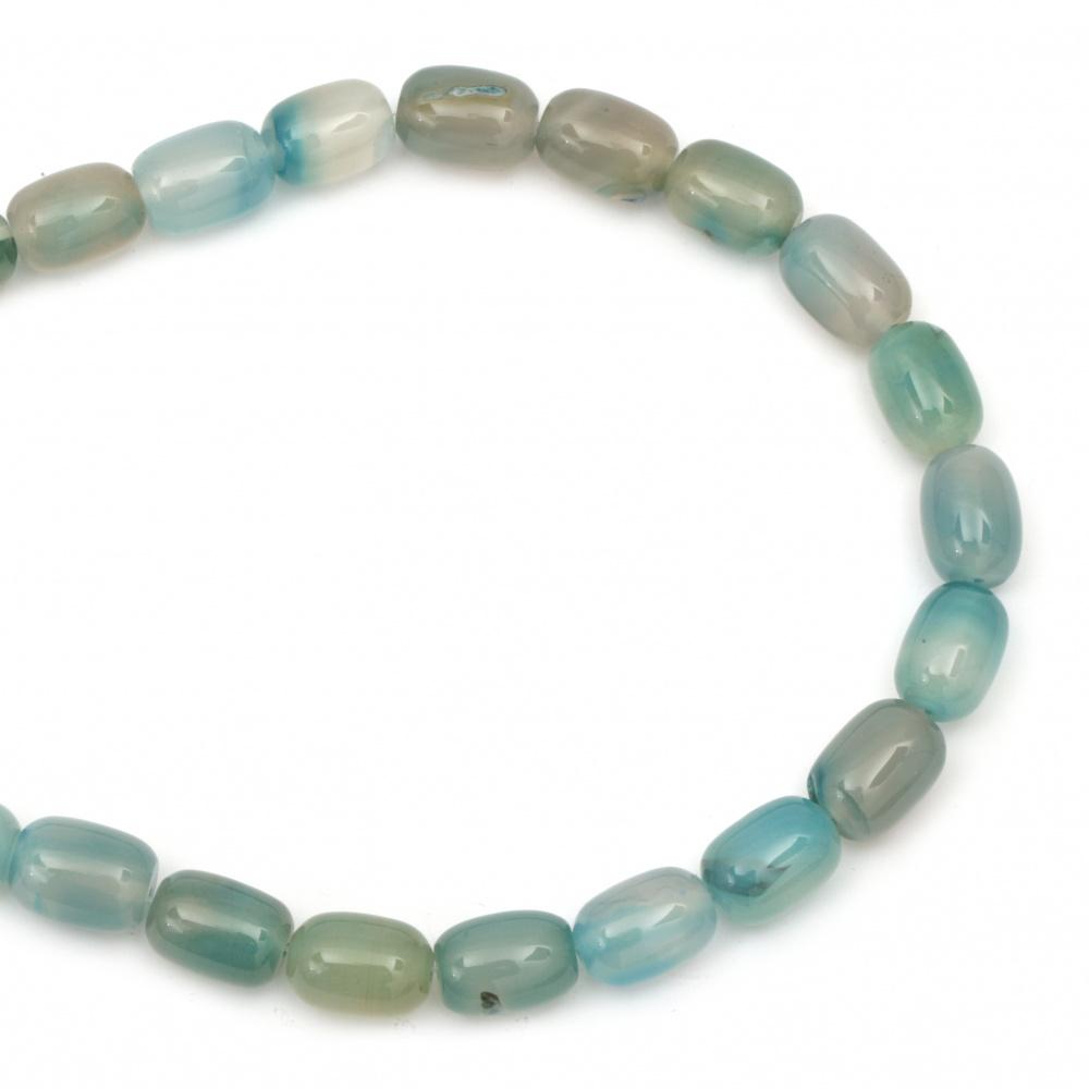 Șir de  mărgele de piatră semi-prețioasă ahat albastru oval 13x18 mm ~ 22 bucăți