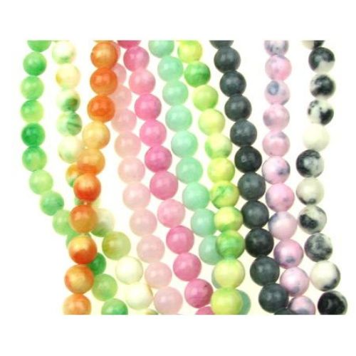 Sir margele de coarde Semi-Prețioase Piatră de Jadeit Asortate Culori Ball 8mm ~ 48 bucăți