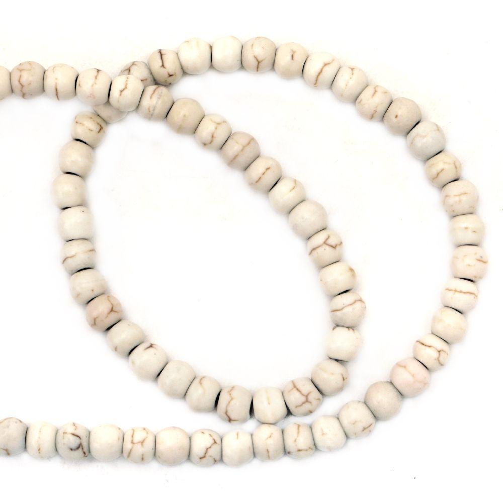 Mărgele cu coarde Piatră semiprețioasă HOWLIT Bile albe naturale 4mm ~ 96 bucăți