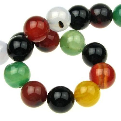 Natural, Dyed Agate Round Beads Strand, Assorted Color  4mm ~ 95 pcs