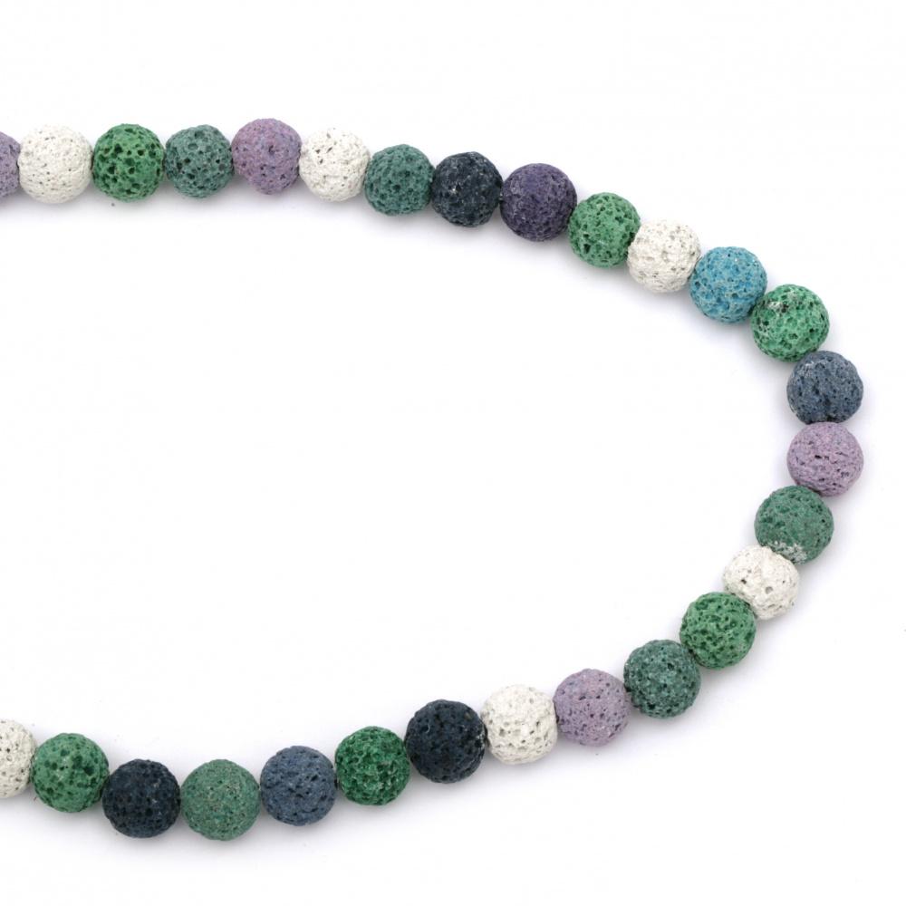 Margele de sfoară piatră semiprețioasă VULCANIC- LAVA bilă multicolor 10 mm ~ 39 bucăți culoare MIX