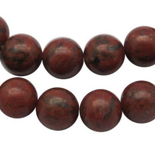 Șireturi mărgele piatră semi-prețioasă minge roșie YAPIS 6 mm ~ 65 bucăți