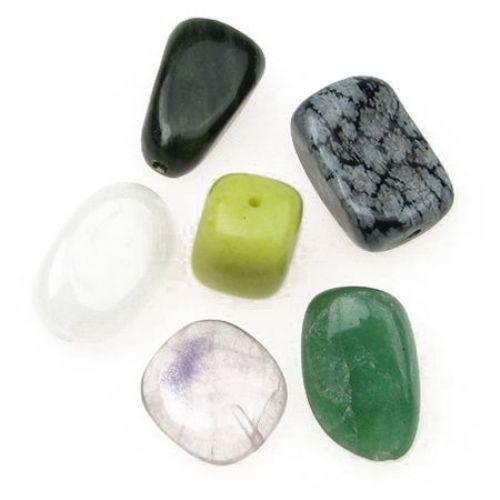 Φυσική πέτρα MIX 11 ~ 18x14 ~ 21x11 ~ 16 mm τρύπα 1,2 mm
