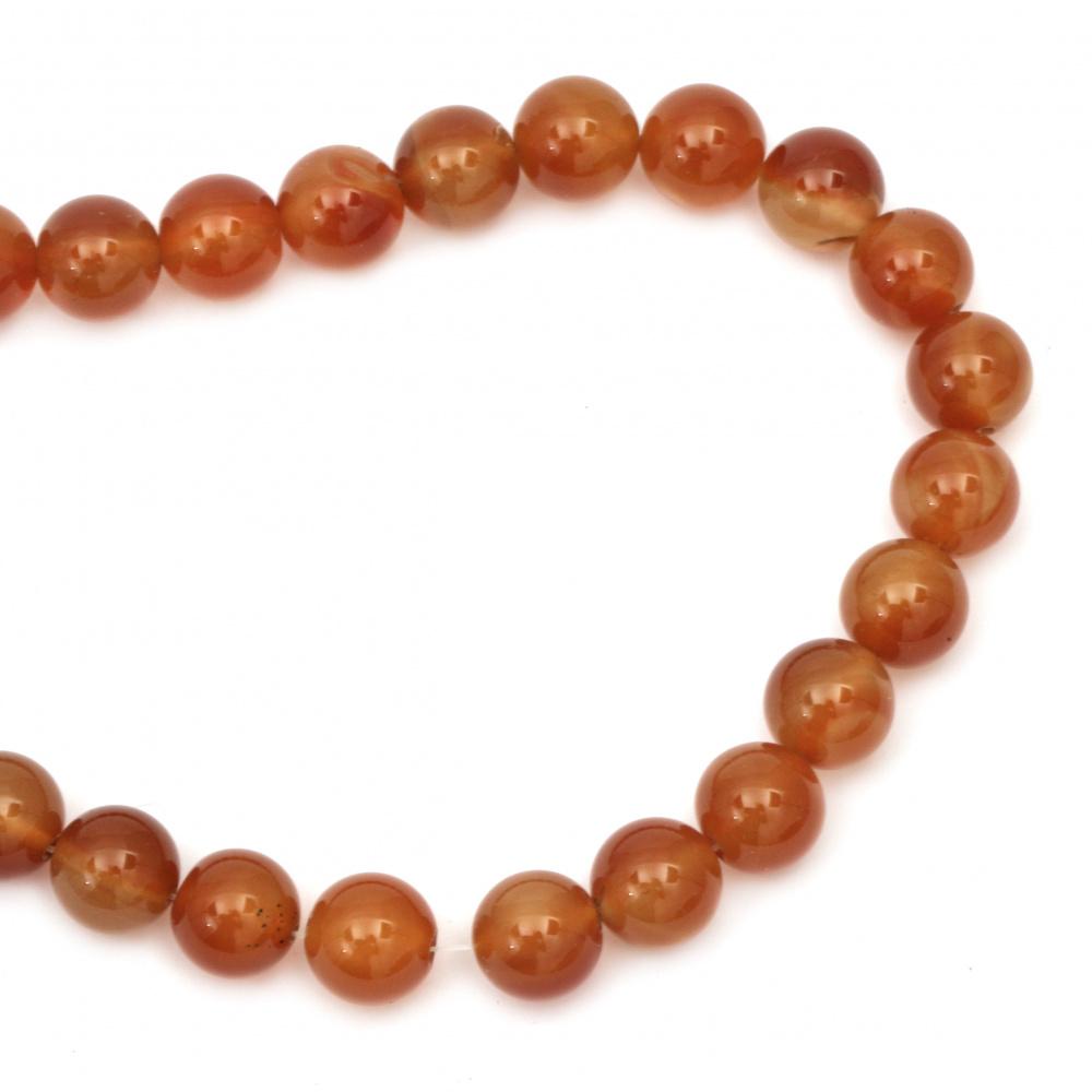 Наниз мъниста полускъпоценен камък АХАТ оранжев топче 14 мм ±28 броя