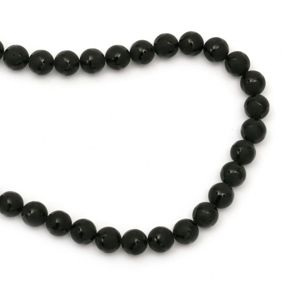 Όνυχας στρόγγυλη ημιπολύτιμη χάντρα 10 mm μαύρο ματ με σχέδιο ~ 39 τεμάχια