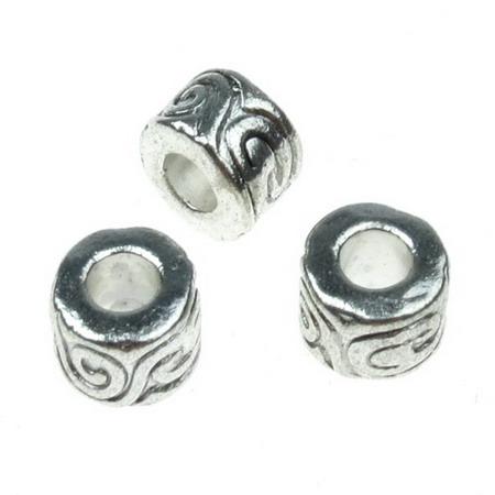 Мънисто АРТ цилиндър 11x7 мм дупка 5 мм метално цвят старо сребро