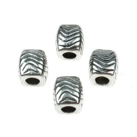 Мънисто АРТ цилиндър 10x9 мм дупка 4.5 мм метално цвят старо сребро