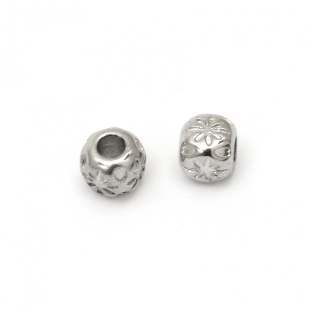 Мънисто АРТ стомана топче 9x10 мм дупка 5 мм цвят сребро
