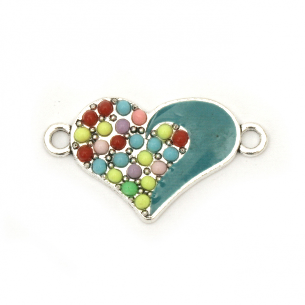 Свързващ елемент метал сърце синьо 25x14x2 мм дупка 2 мм цвят сребро -2 броя